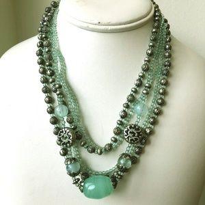 premier designs sea foam glass silver pl necklace